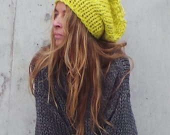 yellow hat winter hat beanie Neon hat Yellow Beanie hat Neon Yellow chunky hand knit HAT with reflective thread glow in the dark, winter hat