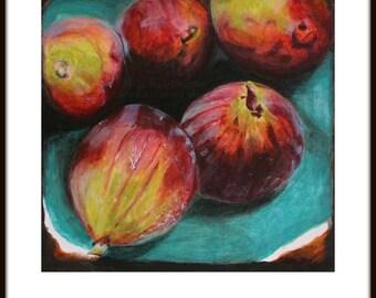 Fruit Painting Print  FIGS - original painting, wall art, art print, fruit, fruit bowl, aqua, figs in a bowl, dessert, food art, food