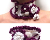 Crochet White and Plum Neckwarmer with Flowers and Leaves - Marsala and White Lux Cowl / Scarf - JUSTINE