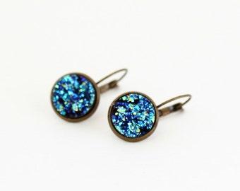 Gift For Women - Blue Druzy Earrings - Gift For Teen Girl - Blue Faux Druzy Earrings - Peacock Blue Earrings - Gift For Woman - Gift For Her