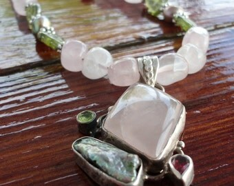 Powerful  925 Sterling Rose Quartz Pendant with Peridot,  Pearl and Ruby on a Rose Quartz Necklace with Ruby and Pearl Beads.