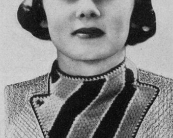 1930s Ladies' Triangle Knit Scarf - Vintage Knitting Pattern - Digital PDF E-Book