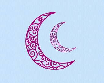 Crescent Moon Filigree machine embroidery file in two sizes