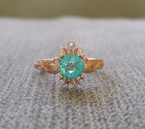 Teal Apatite and Diamond Nature Engagement Ring Birds Vintage