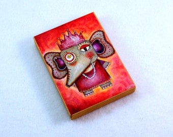 Whimsical Elephant Art Print on Wood Block, Drilled Hole or Magnet, Storybook Art, Indian Style, ACEO ATC Artist Trading Card, Orange Pink