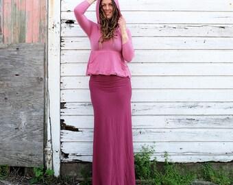 ORGANIC Howrah Hooded Kangaroo Pocket Cropped Shirt (light hemp/organic cotton knit) - organic dress