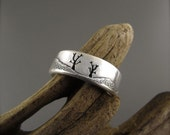 Tree Couple Landscape Sterling Silver Wedding Ring
