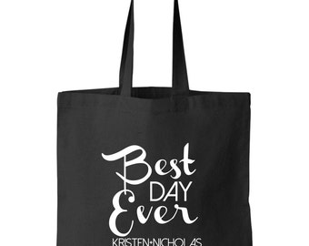 Wedding Welcome Destination Wedding bag tote personalized with bride and groom's names Wedding favors best day ever arrows design bulk order
