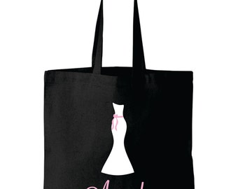 Personalized Bride bag tote wedding dress design matching bridesmaid bags available