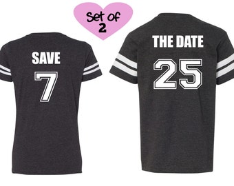 SAVE THE DATE shirts, Football shirts,  Save the Date announcements, Engagement pictures shirts, Bride & Groom shirts