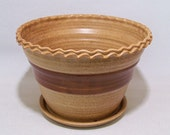 Fluted Rim Planter for house and patio with an attached Dish on the bottom Warm Brown and Brown Handmade Pottery