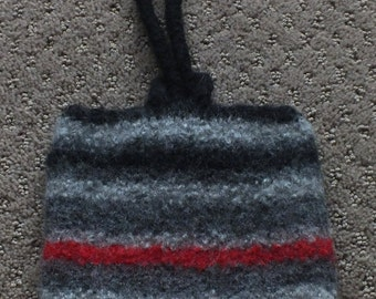 Felted Stripe Wristlet with Loop CLosure