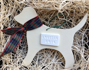 custom dog in plaid scarf christmas ornament with personalized words or name;  ceramic and wood; puppy holiday decoration by Paloma's Nest