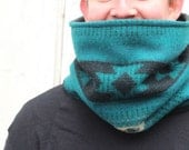 Teal Gray Black Tribal Pattern Vermont Wool Cowl Neckwarmer Fleece Lined Warm Cozy Fall Autumn Winter Fashion Unisex // by Nicoles Threads
