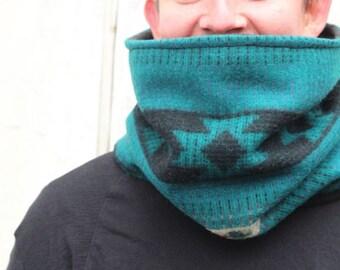 Teal Gray Black Tribal Pattern Vermont Wool Cowl Neckwarmer Fleece Lined Warm Cozy Fall Autumn Winter Fashion Unisex // by Nicoles Threads