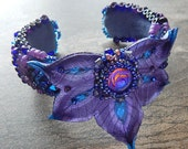 Purple Peacock Leather Cuff Bracelet With Bead Embroidered Accents