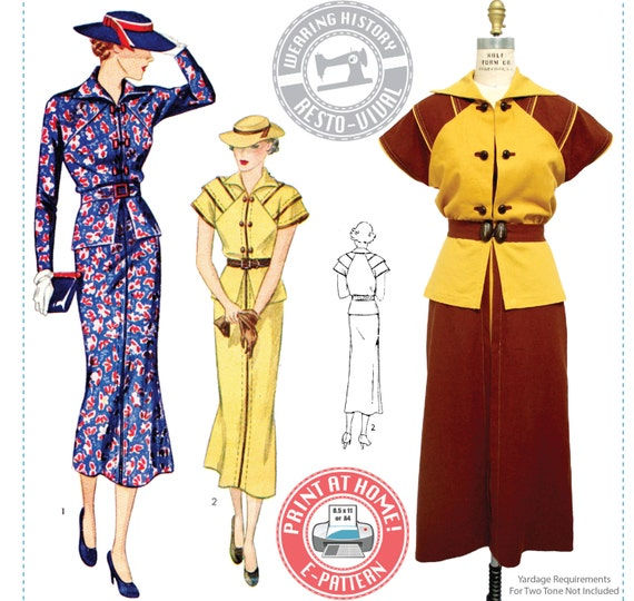 1930s Dresses | 30s Art Deco Dress 1930s Day or Afternoon Dress- Wearing History PDF Vintage Sewing Pattern $12.00 AT vintagedancer.com