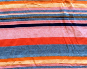 1960's jersey fabric, bold stripes in shades of orange, navy, and deep yellow, extra wide, 1 2/3 yards