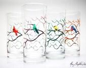 Seasonal Bird Glasses - 4 Piece Everyday Glassware Collection, Cardinal, Hummingbird, Yellow Finch and Bluebird Drinking Glasses