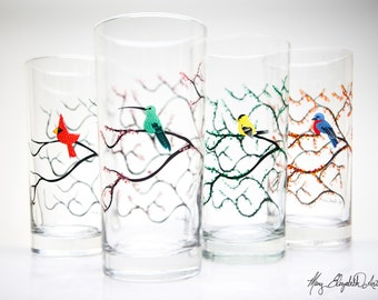 Seasonal Bird Glasses - 4 Piece Everyday Glassware Collection, Cardinal, Hummingbird, Yellow Finch and Bluebird Drinking Glasses