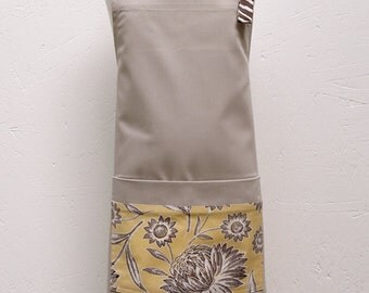Audrey Apron for Girls - Yellow Floral with Zebra Ties