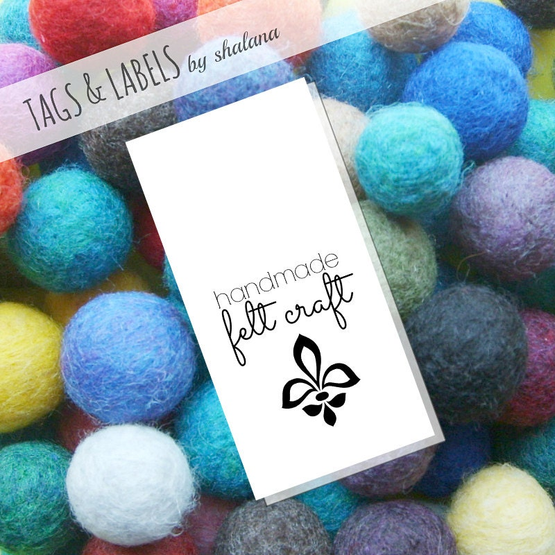Pdf printable hang tags handmade felt craft label from for Custom tags for crafts