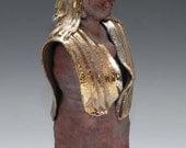 Standing Female Buddha Statue in Red Copper Gold Blue Raku