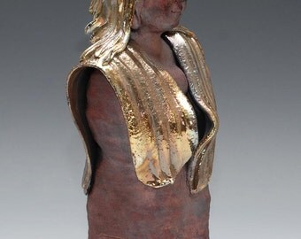 Standing Female Buddha Statue in Red Copper Gold Blue Raku