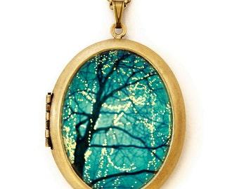 Photo Locket Necklace -Twinkle - Dreamy Fairy Lights In Tree Art Locket Necklace