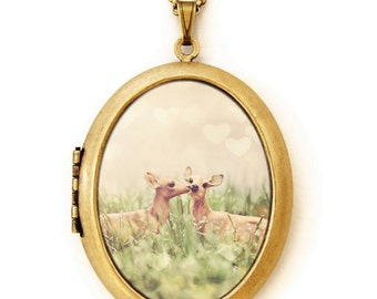 Photo Locket - Let's Meet In The Middle - Dreamy Adorable Deer Photo Locket Necklace