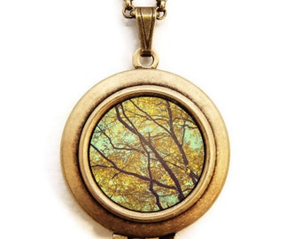 Leaves Of Gold - Summer Harvest Nature Photo Locket Necklace