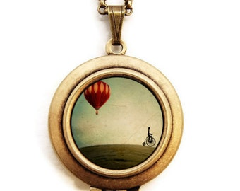 Penny Farthing - Whimsical Hot Air Balloon Art Locket Necklace