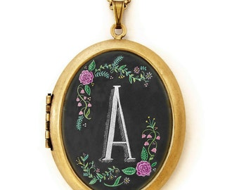 Art Locket - Alphabet Initial Letter Chalkboard Art Locket Necklace
