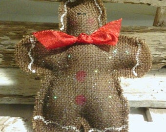 Gingerbread Man Burlap Christmas Tree Glittered Ornament With Red Bow