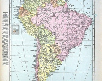 1914 Antique Map - Map of Cuba, Map of South America - World Atlas Book Page - 2 Sided -14 x 12