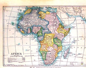 Small Antique Map - Map of Africa - 1912 Antique Map - Vintage Book Page - 9 x 7