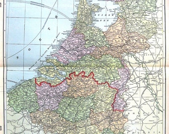 Large Map of The Netherlands, Belgium and Luxemburg - Large 1901 Antique Map - from Cram's World Atlas - 22 x 14