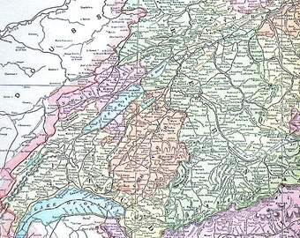 Map of Switzerland - Large 1901 Antique Map - from Cram's World Atlas - 22 x 14