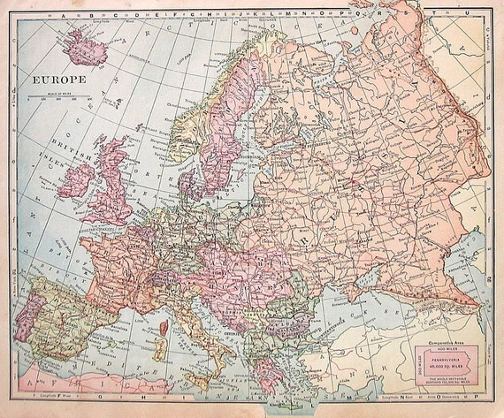 1895 Map of Europe - Antique Map - Over 100 Years Old - Antique Geography Book Page - 12 x 10