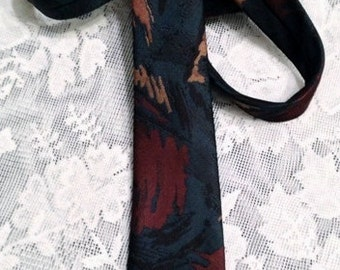 Skinny Vintage Tie by Florenzi. Teal, Chocolate Brown and Gold