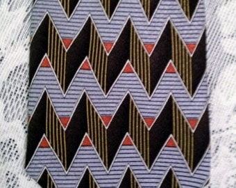 Cool 3D Zig Zag Necktie by Z Inc. All Silk