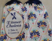 Crocheted Top Dish Towel Granny Kitchen Towel Hand Towel Set Dinner Choices
