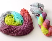 """Hand Dyed Sock Yarn - """"Fairy Queen Jubilee"""" - Fingering Weight - Chartreuse Turquoise Gray Purple Red"""