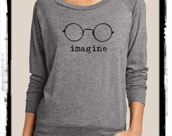 Imagine Heathered Slouchy Pullover long sleeve Girls Ladies shirt  screenprint Alternative Apparel