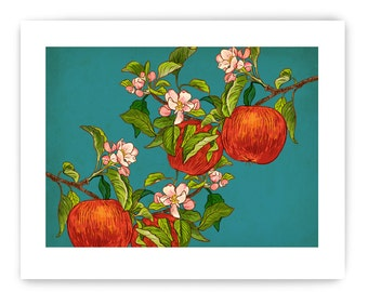 "Apples on Branch: Decorative Vegetable Art Reproduction, 8"" x 10"""