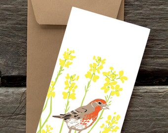 Finch and Mustard -- 8 Blank flat cards and envelopes