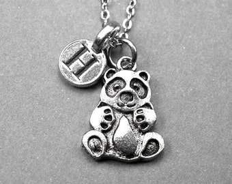 Panda Bear Necklace, Panda Bear charm, antiqued silver pewter, personalized jewelry, initial necklace, hand stamped initial, monogram