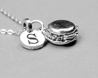 Hamburger Necklace, cheeseburger necklace, burger necklace, silver plated pewter, initial necklace, initial jewelry, personalized, monogram