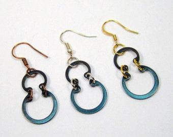 Black Metal Earrings - Industrial Earrings - Hardware Earrings - Urban Earrings - Snap Ring Earrings - Hardware Jewelry - Gifts under 10
