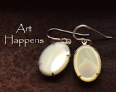 "Lovely Mother of Pearl Oval Earrings, MOP earrings, ""Mother May I"""